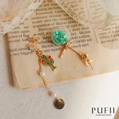 PUFII-耳環 正韓仙人掌配星星沙不對稱耳環- 0423 現+預 春【CP18420】