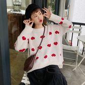 ZUCAS~(XA-5930)寬鬆愛心圖案長袖針織衫