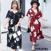 (現貨+預購 FUWAFUWA)-- 加大尺碼大花雪紡飄逸短袖長洋裝
