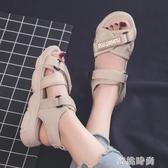 涼鞋女夏平底ins潮女士百搭2020新款夏季超火時尚運動沙灘鞋 『蜜桃時尚』