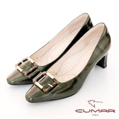 【CUMAR】優雅化身復古雙色小方頭粗跟中跟鞋(墨綠色)
