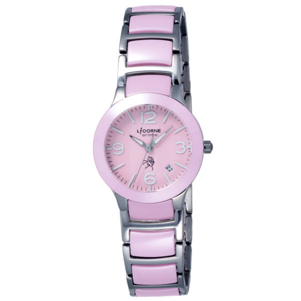 LICORNE entree 精簡年華日期顯示腕錶-粉