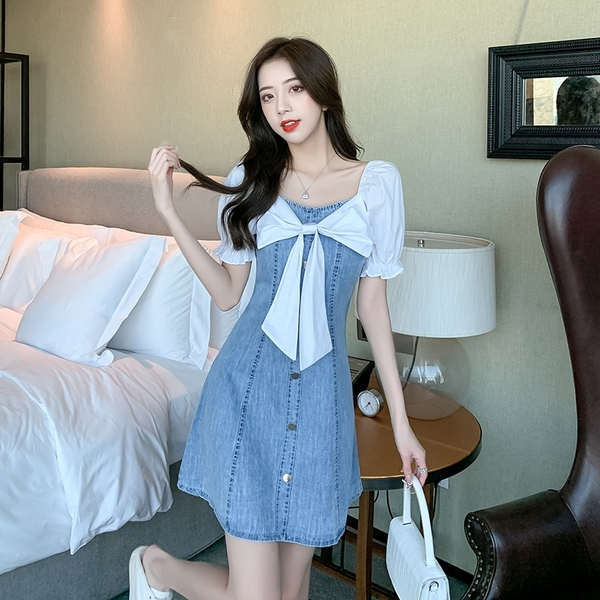 VK精品服飾 韓系襯衫蝴蝶結假兩件拼接牛仔修身短袖洋裝