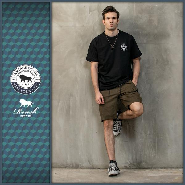 【Roush】 口袋銅牌設計雙拉鍊工裝短褲 -【2025390】