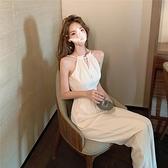 連身裙 氣質女神范長款掛脖連身裙女夏輕熟風吊帶連身裙寬鬆白色闊腿長褲 晶彩 99免運