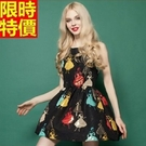 洋裝無袖高雅氣質-圓領連身裙精美公主印花女裝小洋裝2色67m3【巴黎精品】