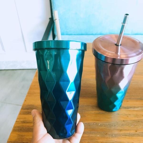 大容量不銹鋼吸管杯雙層隔熱保溫杯漸變色創意男女學生可愛隨手杯