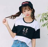 EASON SHOP(GU5541)豎圖拼色運動員人物刺繡短版落肩圓領短袖T恤內搭衫女上衣服素色白棉T韓版寬鬆