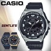 CASIO 手錶專賣店 MWC-100H-1A 俐落指針男錶 樹脂錶帶 黑X銀 防水100米