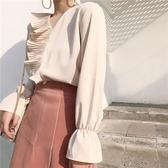 618好康又一發春裝2018新款女顯瘦氣質V領寬鬆壓褶上衣氣質純色喇叭長袖襯衫