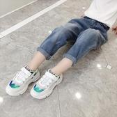 女童褲子2019新款秋裝韓版洋氣牛仔褲兒童長褲女孩花苞高腰哈倫褲 遇見寶貝