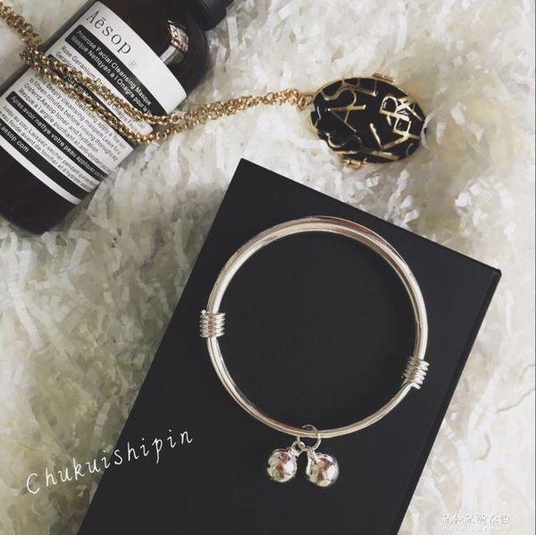 韓版鍍925純銀可調節鈴鐺手鐲女 文藝銀色手鍊手環閨蜜禮物 朵拉朵衣櫥