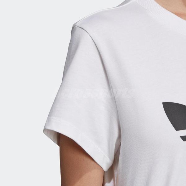 adidas 短袖T恤 Originals Boyfriend Trefoil Tee 白 黑 女款 男友T 三葉草 【ACS】 DX2322