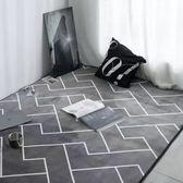 北歐簡約灰色幾何線條短絨地墊瑜伽爬行客廳臥室地板墊子地毯   遇見生活