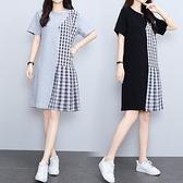 洋裝拼接裙子中大尺碼M-4XL女裝格子拼接中長裙大碼寬鬆顯瘦連身裙4F101-8896.胖妹大碼