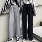 寬管褲 灰色運動褲女寬鬆直筒春款顯瘦衛褲子高腰垂感拖地闊腿褲 晶彩 99免運