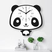 北歐掛鐘客廳靜音兒童房可愛時鐘臥室創意卡通熊貓藝術鐘表 FF1549【衣好月圓】