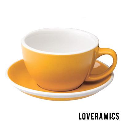 【LOVERAMICS 愛陶樂 】Egg 拿鐵咖啡杯盤組 300ml Yellow 黃色