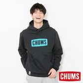 CHUMS 日本 男 LOGO 兜帽套頭衫 帽T 霧黑 CH001085K006