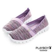 PLAYBOY 輕盈節奏 輕量針織布懶人鞋-紫