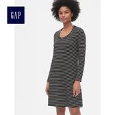 Gap女裝 基本款天絲圓領長袖連衣裙493698-黑白條紋