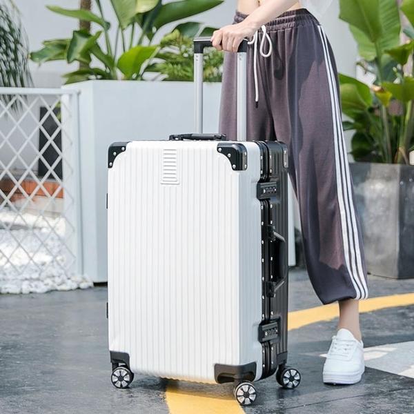 拉桿箱 行李箱女萬向輪復古鋁框拉桿箱男旅行箱20寸密碼登機箱子母箱