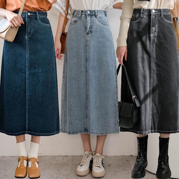 現貨-MIUSTAR 後開衩腰圍調節釦車線牛仔中長裙(共4色,S-XL)【NJ0191】