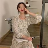 洋裝大碼女裝碎花連身裙設計感小眾長裙遮肉顯瘦裙子品牌【邦邦男装】
