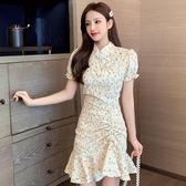 旗袍2020年夏季新款法式氣質改良旗袍碎花抽繩修身包臀不規則連身裙女 童趣屋
