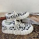 板鞋 豹紋帆布小白鞋女潮2021年春季新款復古韓版百搭厚底大頭板鞋3C 618購物