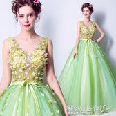 婚紗禮服 仙美春意花瓣綠色新娘婚紗敬酒服晚宴年會禮服igo 傾城小鋪 傾城小鋪