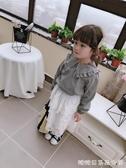 女童長袖襯衫-中小童春秋季新款女童寶寶甜美花邊格子翻領襯衫 兒童上衣 糖糖日系