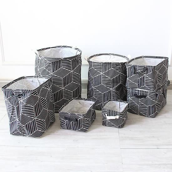 米菈生活館✭【M109】多功能幾何圖形收納盒 手提 印花 收納桶 簡約 日系 居家 創意 新款