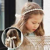 UNICO 韓版 兒童時尚珍珠蕾絲綁帶髮箍