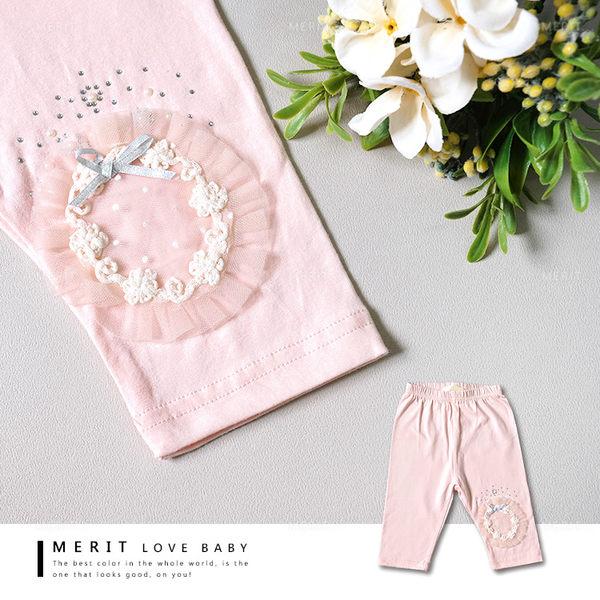 歐式蕾絲花圈蝴蝶結貼鑽珍珠內搭褲 粉紅 柔軟 親膚 點點 典雅 女童 哎北比童裝