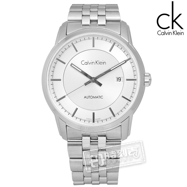 CK / K5S34146 / Infinite卓越自信質感不鏽鋼機械腕錶 銀色 42mm