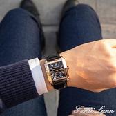 晨曦新款方形手錶男皮帶時尚潮流防水非機械錶男學生復古商務男錶 范思蓮恩