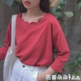 長袖T恤白色純色秋裝長袖T恤女學生學院風寬鬆韓版打底衫上衣服韓國百搭【芭蕾朵朵】