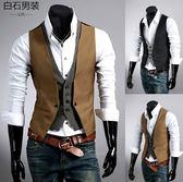 男士商務西裝馬甲男裝假兩件修身款英倫時尚休閒馬甲正裝西服背心 良品鋪子