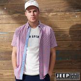 【JEEP】簡約美式格紋短袖襯衫 (紅藍格)