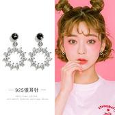 【免運到手價$98】微鑲人工锆石圓圈耳環女氣質韓國個性短發耳釘ins耳飾