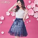 洋裝 鉤花蕾絲套裝短袖 上衣+裙子-深藍...