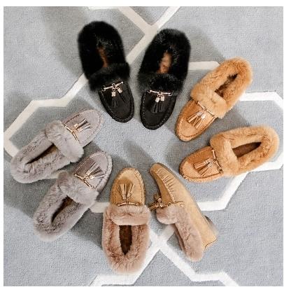 小鄧子兔毛豆豆鞋女加絨冬季2017新款毛毛鞋女秋冬毛瓢鞋棉鞋雪地短靴子