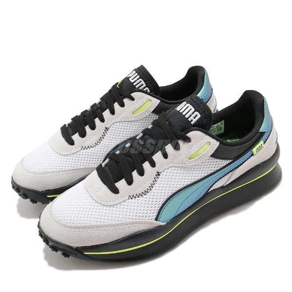 Puma 休閒鞋 Style Rider Petrol Spill 白 藍 男鞋 女鞋 復古慢跑鞋 運動鞋 老爹鞋 【ACS】 37323701