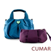 CUMAR  輕量尼龍愛心logo手提斜背包-藍色(贈紫小包)