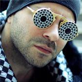 個性齒輪眼鏡朋克復古搞怪結婚墨鏡拍照潮夸張雙層翻蓋太陽鏡三角衣櫥