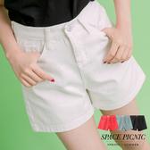短褲 Space Picnic|經典素面水洗雙口袋單寧牛仔短褲(現貨)【C17052097】