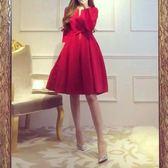 紅色連身裙女胖mm顯瘦潮夏裝禮服裙子夏