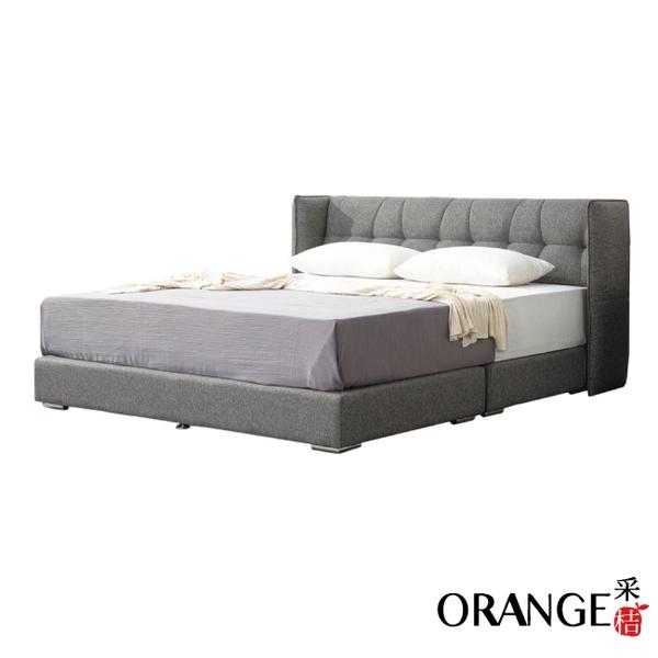 【采桔家居】吉布地 現代5尺棉麻布雙人床台組合(床頭+床底+不含床墊)