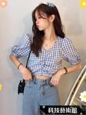 蕾絲雪紡夏新款韓版設計感小眾心機t恤女性感格子短款短袖泫雅風上衣